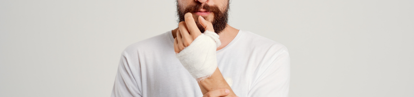 A bandaged hand of an injured worker.