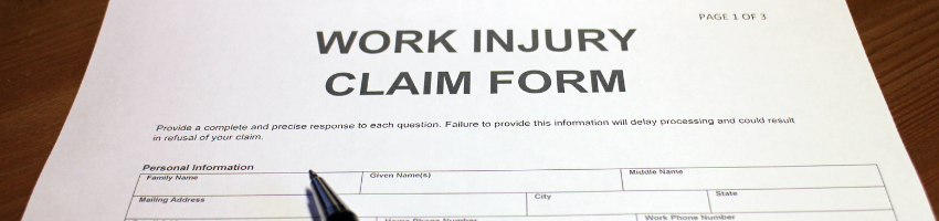 A work injury claim form that has not been filled out yet.