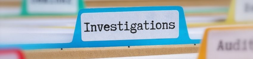 A tab on a file that says 'investigations'