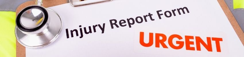 A workers injury claim form with an urgent notice on it.