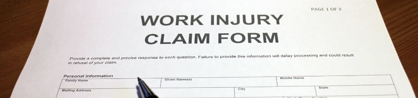 A work injury claim form that is left blank.
